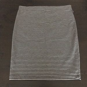 Black and Gray Striped Pencil Skirt | Size L